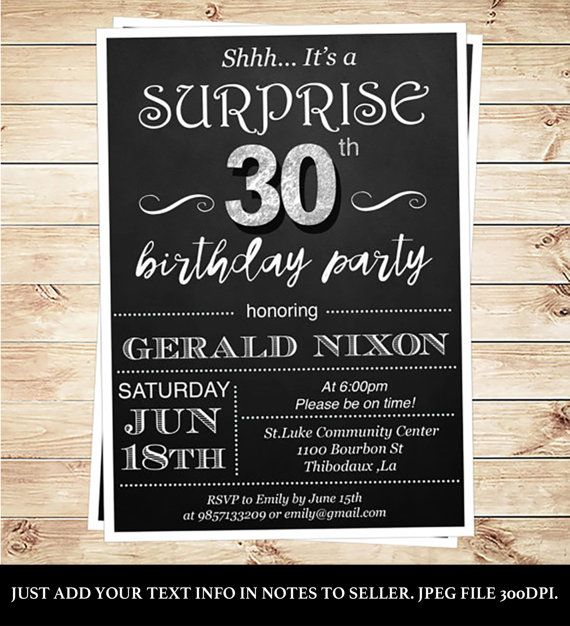 Surprise 30th Birthday Invitations For Him By DIYPartyInvitation