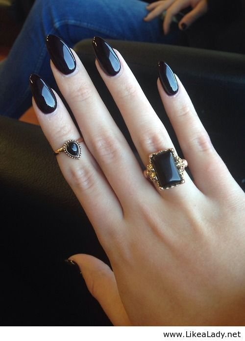 """black nail polish & rings 