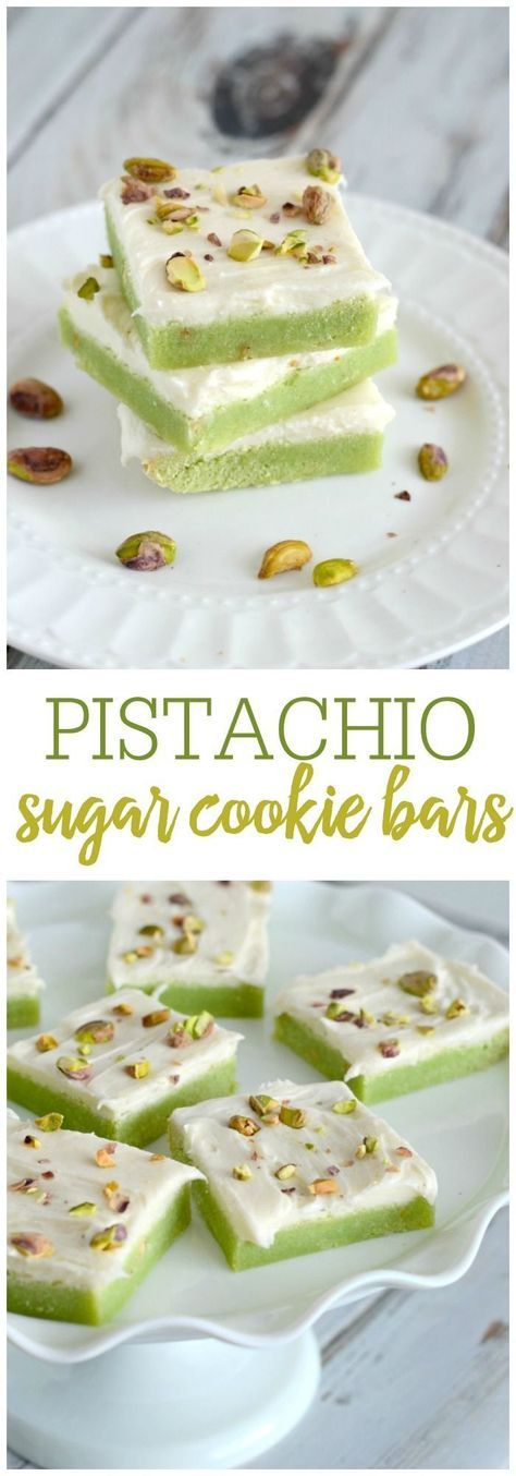 Soft and chewy pistachio sugar cookie bars with cream cheese ...