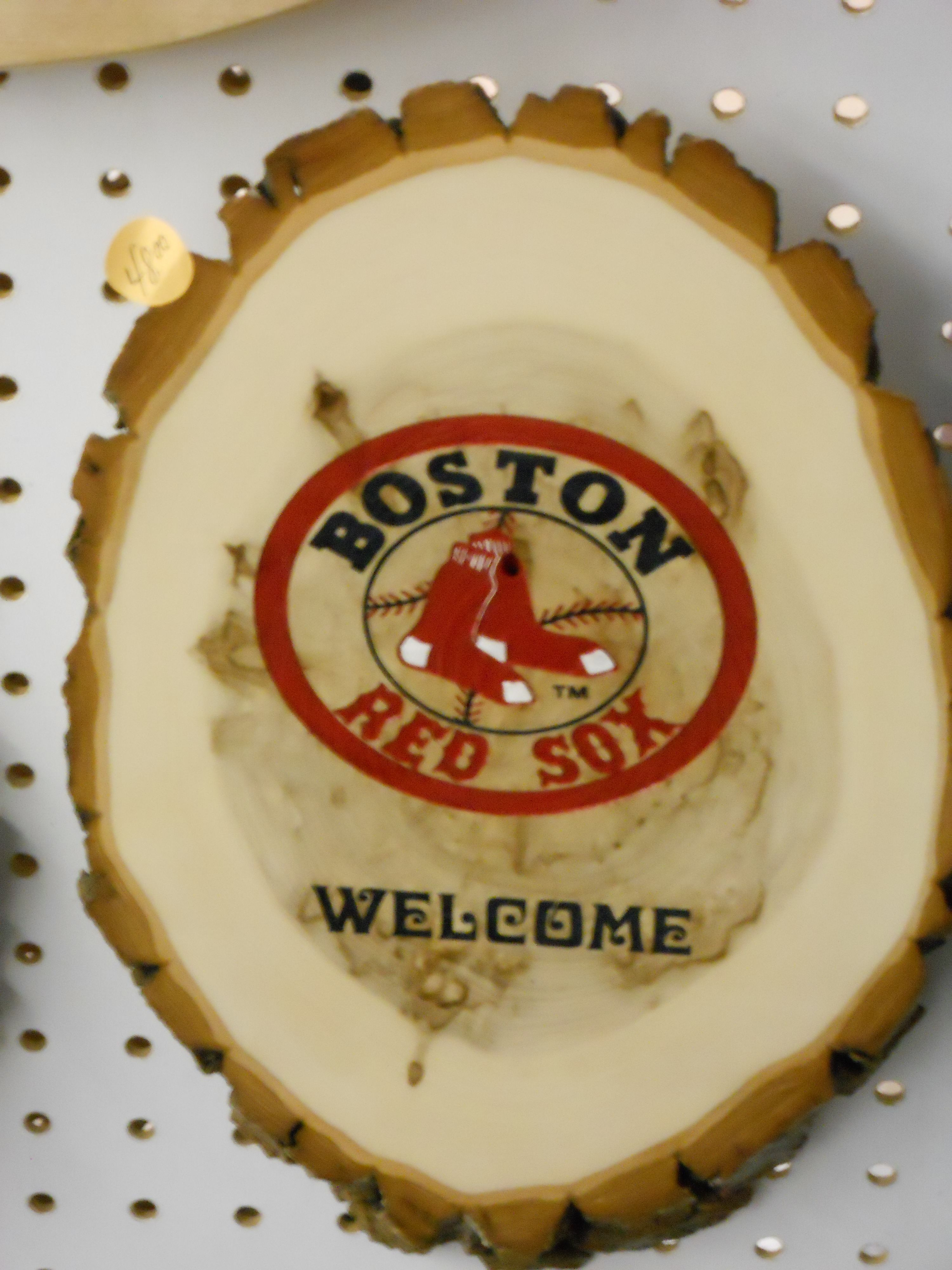Log Sliced Welcome Boston Red Sox Sign https://www.youtube.com/user ...