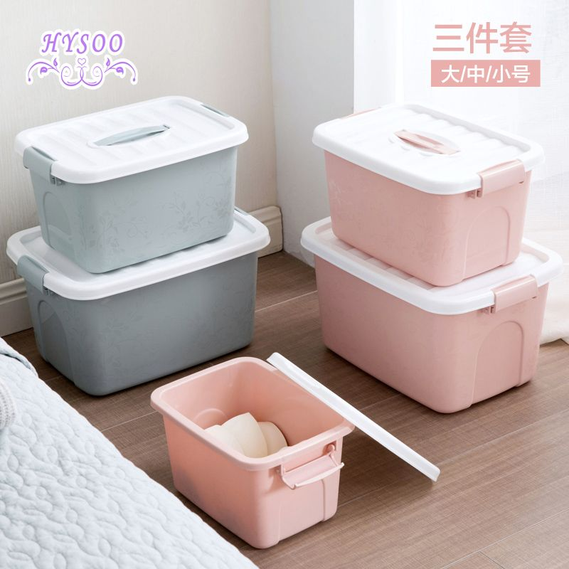 Covered Plastic Clothes Storage Box Three Piece Wardrobe Large