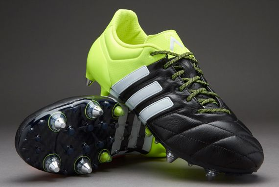 adidas ace 15.1 sg leather - core black/white/solar yellow