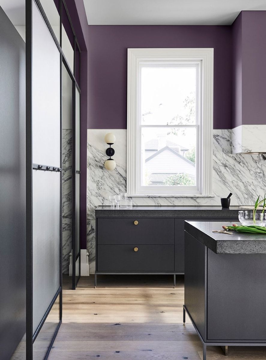 Purple Kitchen Wall With Grey Cabinetry Dulux 2019 Home Colour Trends Purple Kitchen Walls Home Interior