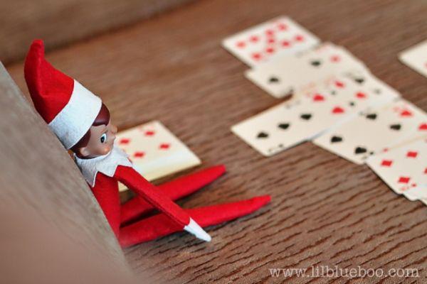 Playing Solitaire - Elf on a Shelf - courtesy of; lilblueboo.com - #Christmas #Elf on a Shelf