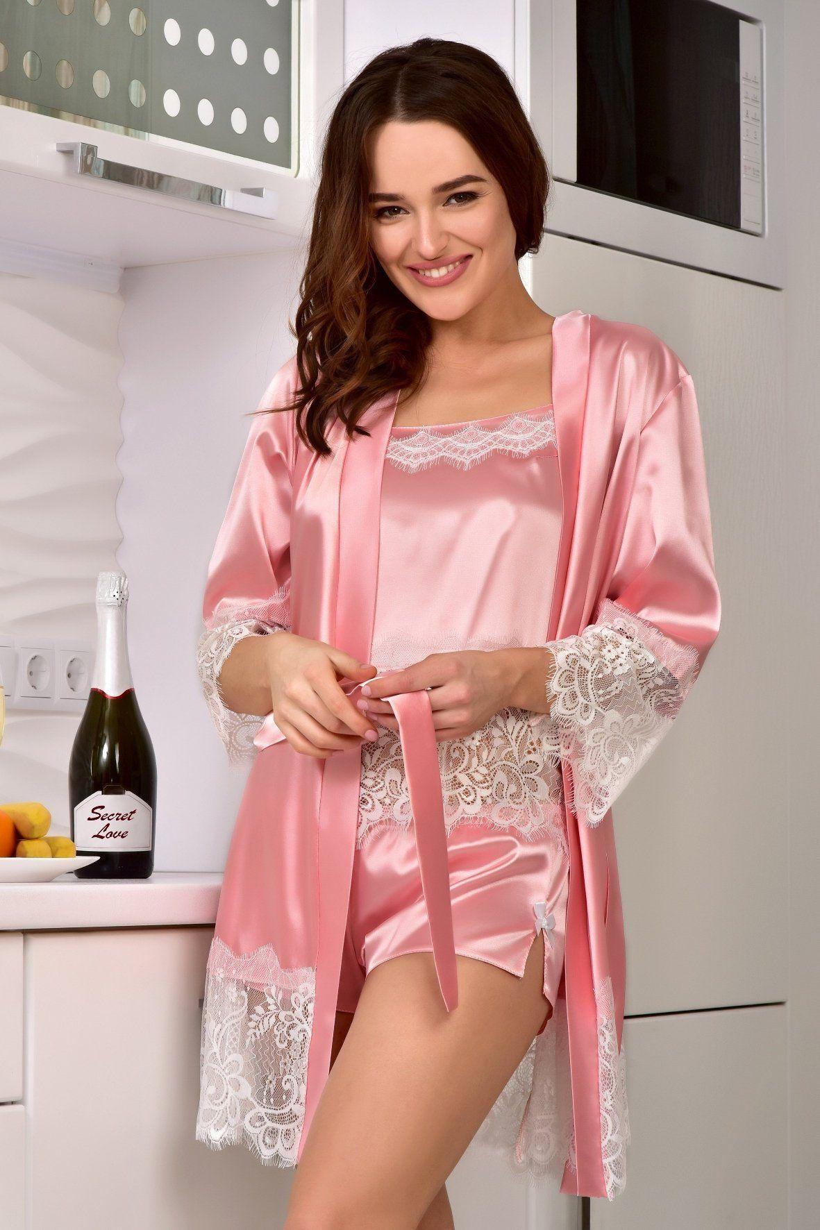 Pink Satin Bow Pyjama Set Nightie Nightwear Lingerie Top Vest Short Sleepwear M
