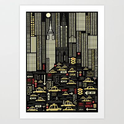 New York (Portrait) Art Print by Peter Donnelly Illustration