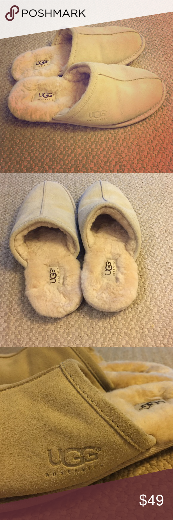 Ugg women's slip on slippers 💯% authentic Ugg women's slip on slippers. Tan soft suede/leather outside and genuine sheepskin inside/lining. Size 7, barely worn. From a pet and smoke free home UGG Shoes Slippers