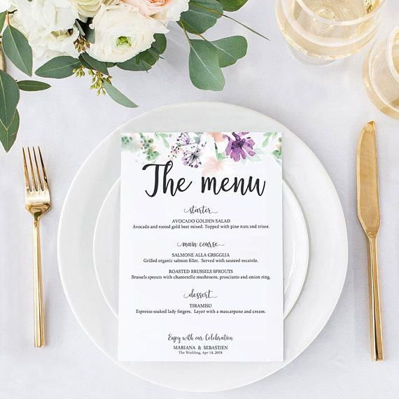 Purple Wedding Menu Place Card Printable Template Editable Menu - Menu place cards template