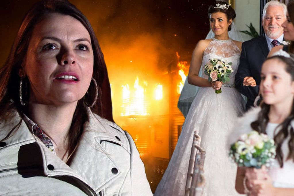 Coronation Street New Pictures As Fire Rips Through Weatherfield And Tracy Wreaks Havoc On Ex Steve S Wedding Day