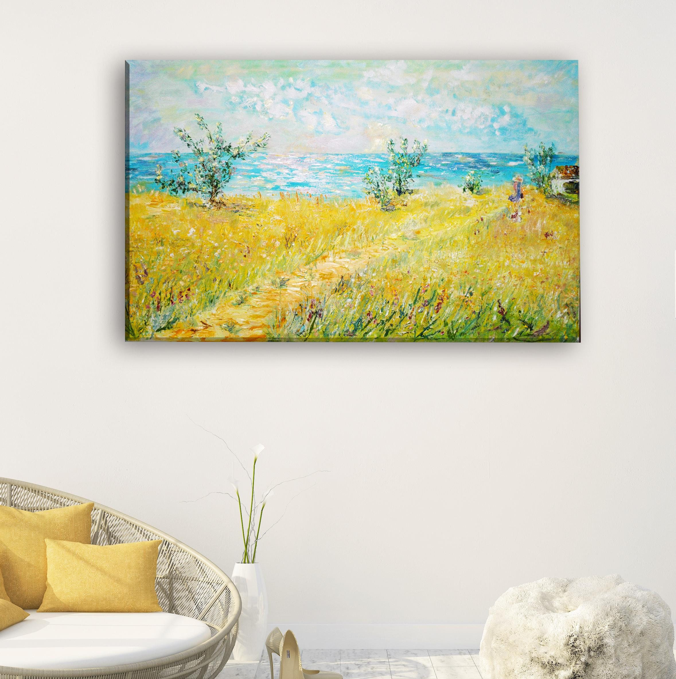 Oil on canvas Modern wall art Landscape painting Fluid art Large ...