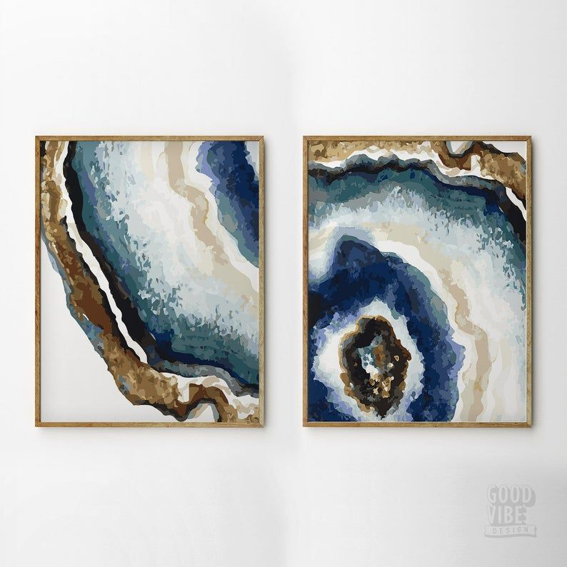 Set Of 2 Prints Geode Wall Art Abstract Agate Agate Slice Etsy Blue Abstract Art Blue Wall Art Art