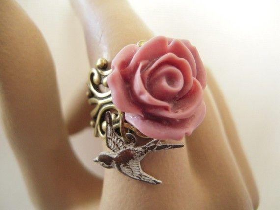 Pink Rose Bird Ring.
