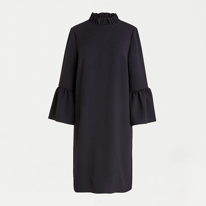 J Crew Ruffle Neck Shift Dress In 365 Crepe In 2020 Shift Dress Dresses Jumpsuit Dress