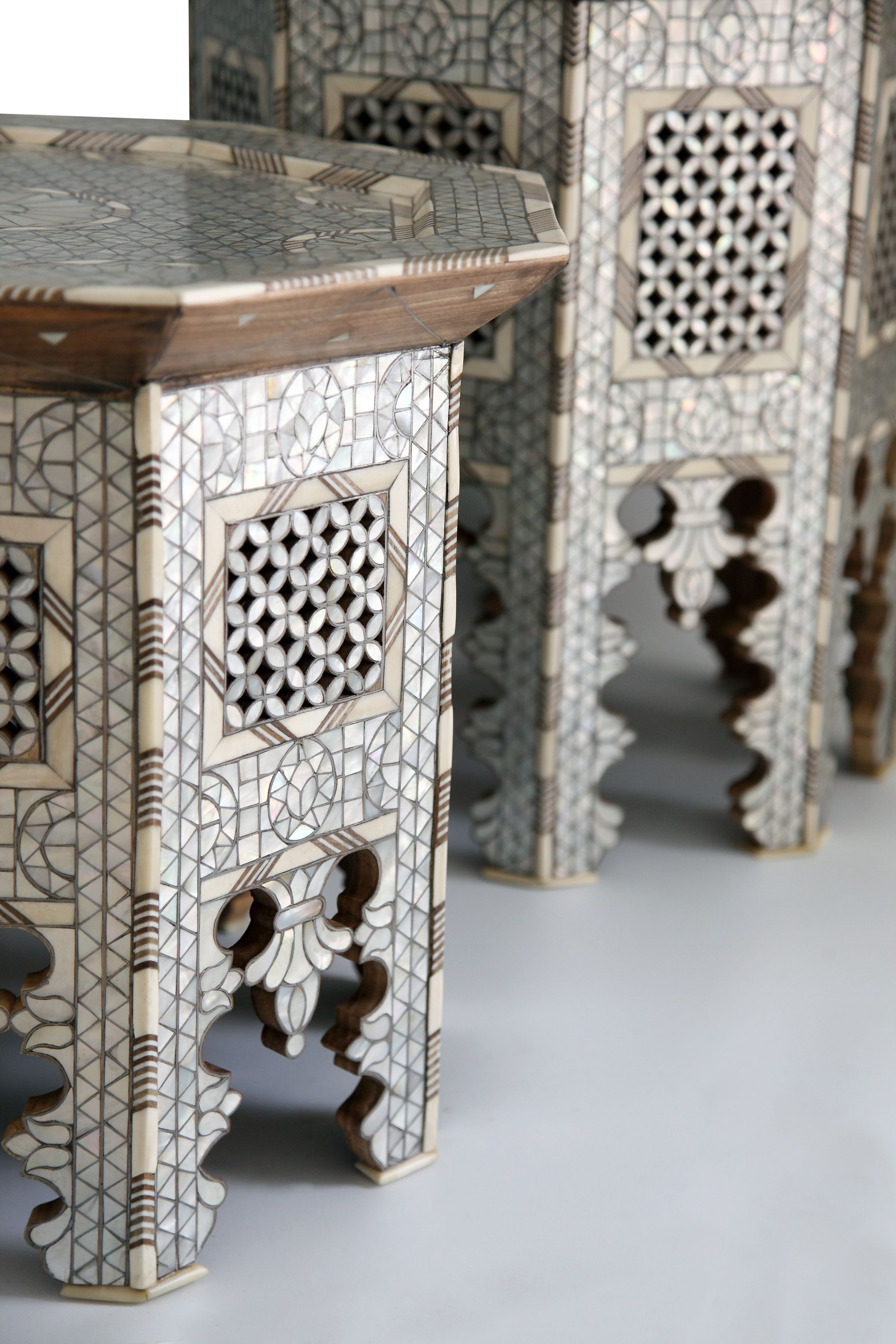 Mother of Pearl Tables.  Designed By: Nevine Designs