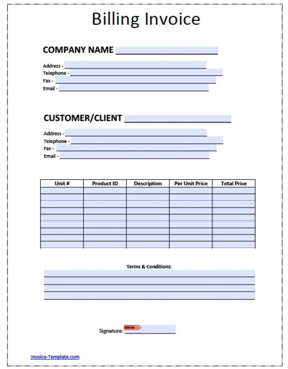 Blank Bill Template Ee Printable Invoice Templates Excel Utility