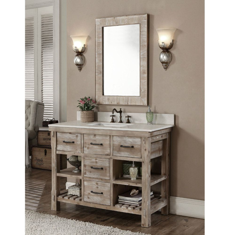 Infurniture Rustic Style 48-inch Single Sink Bathroom Vanity and Matching Wall Mirror (48 Quartz White Top Vanity & Mirror, no faucet), Size Single Vanities