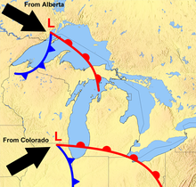 Great Lakes Storm of 1913 – A cyclonic blizzard (sometimes referred to as an inland hurricane) on the Great Lakes that occurred between 7 and 10 November 1913. In total 12 ships were sunk with a combined crew loss of 255. An additional seven ships were damaged beyond repair; 19 more ships that had been stranded were later salvaged.