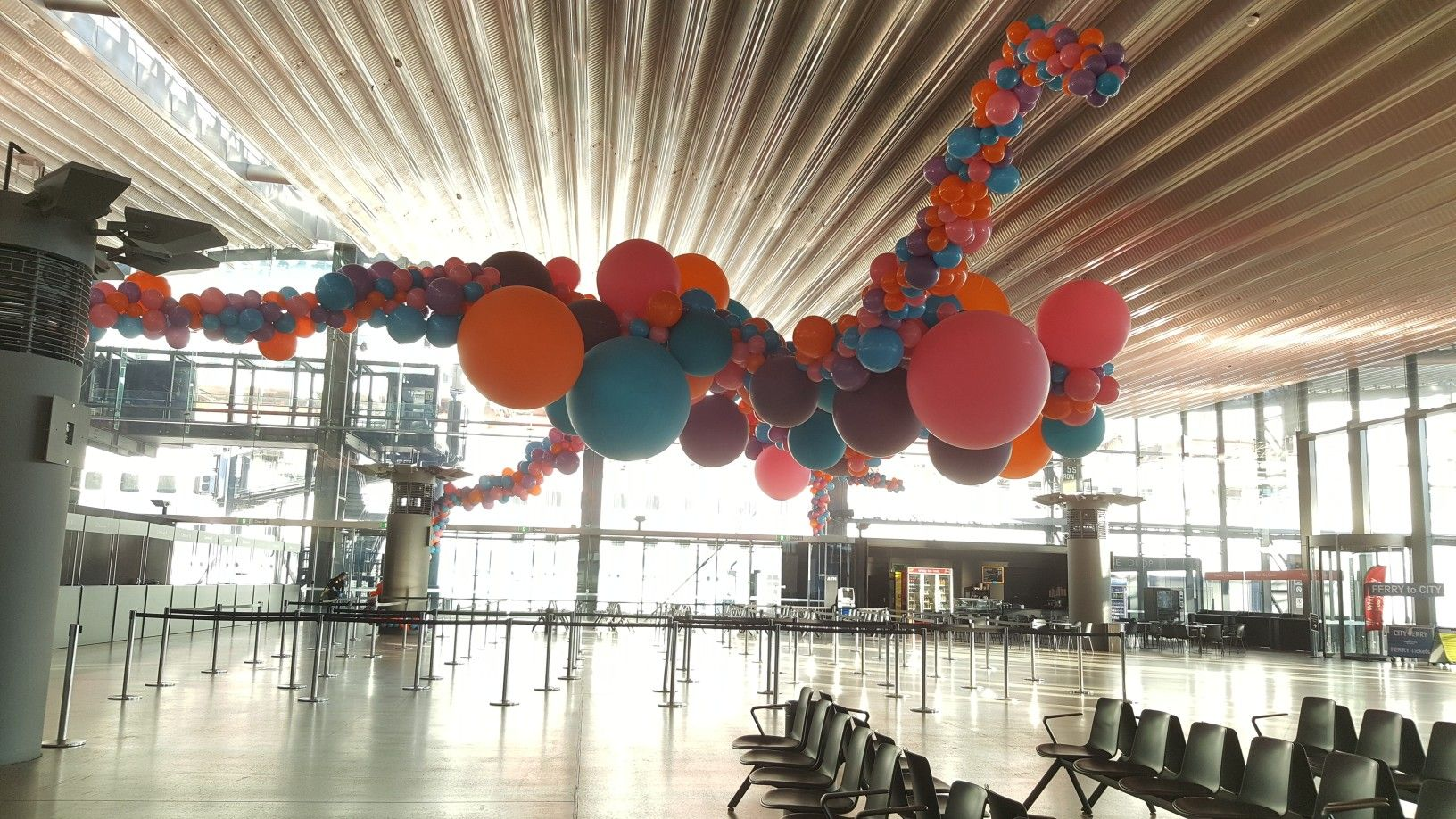 Giant organic installation using balloons up to