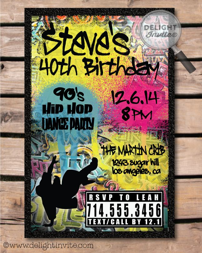 90s Hip Hop Graffiti Birthday Invitations! [DI-464] : Custom ...