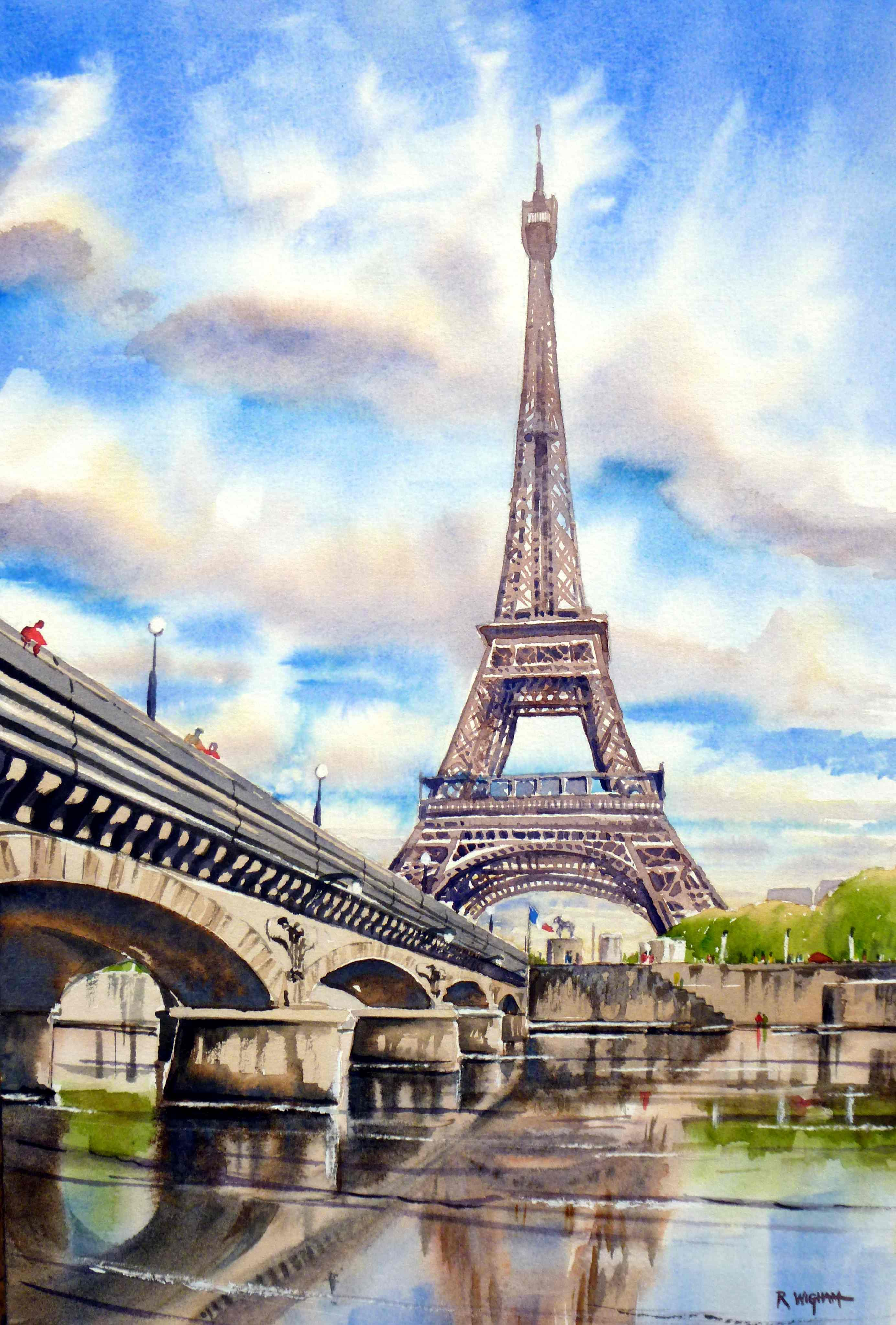 Eiffel Towe From Across The Seine Watercolour With Images
