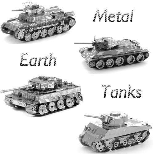Metal Earth Tanks Models Gift Set - Sherman Tank, Tiger I Tank, Chi Ha Tank, T-34 Tank (w/ Solar Spinner Display)
