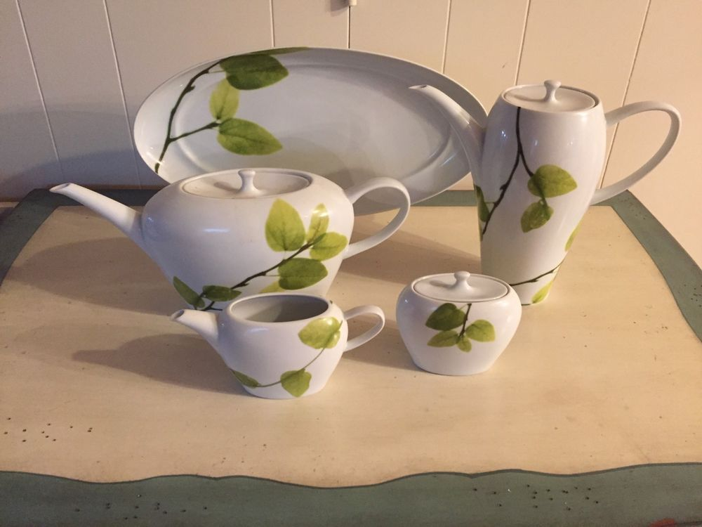 Brand New Mikasa Daylight Porcelain tea set with leaf design. Dinnerware Set. #Mikasa & Brand New Mikasa Daylight Porcelain tea set with leaf design ...