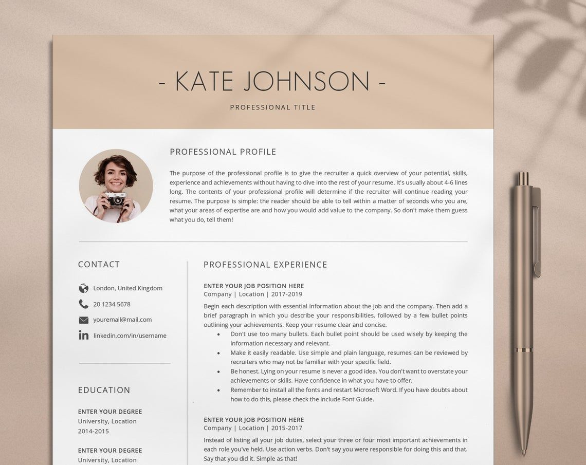 Creative Resume Template Professional Resume Template Modern Etsy Creative Resume Templates Resume Template Word One Page Resume Template
