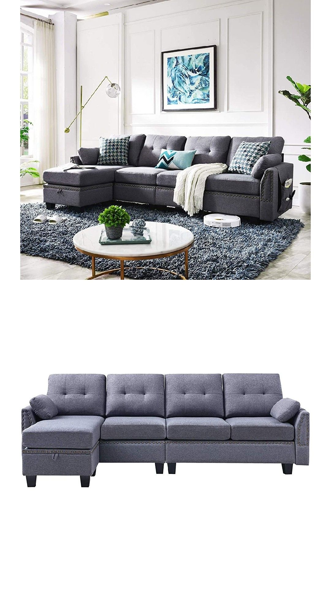 Honbay Reversible Sectional Sofa Couch For Living Room In 2020 L Shaped Sofa Sectional Sofa Sectional Sofa Couch