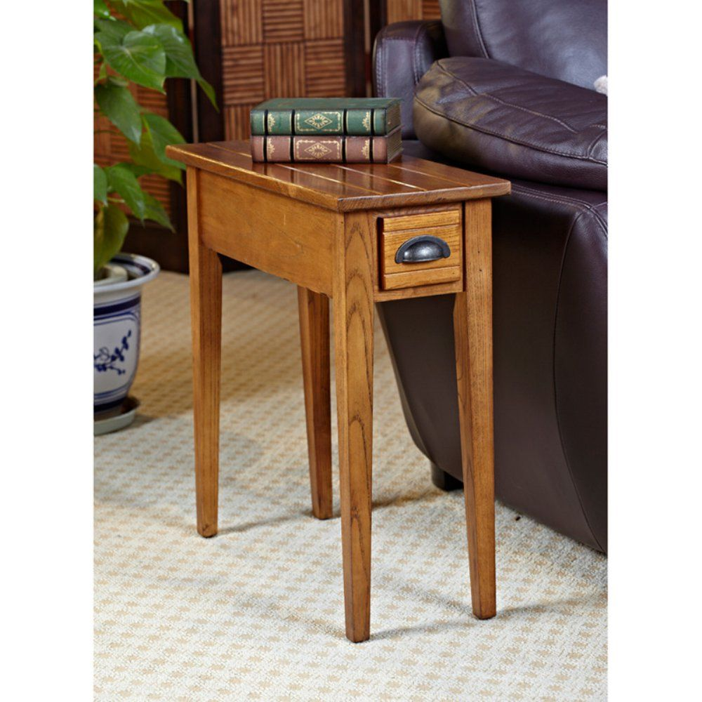 Leick Home Bin Pull Oak 10 In Chair Side End Table In Candleglow Finish End Tables Small End Tables Painted End Tables