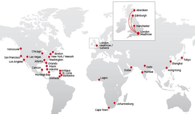 Route map of Virgin Atlantic destinations | Places I have been ...