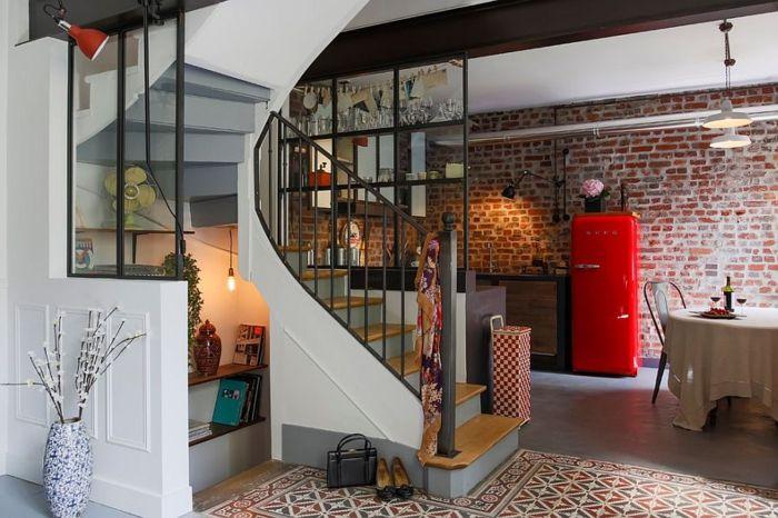 Wohnzimmer Kühlschrank ~ Küche industriell kühlschrank rot vintage attic apartment