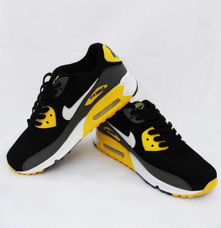 separation shoes b82c5 c595a Nike Air Max 90 Running Shoe Essential Black Yellow Grey