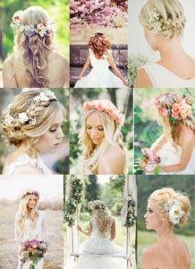 blomsterkrans til håret bryllup
