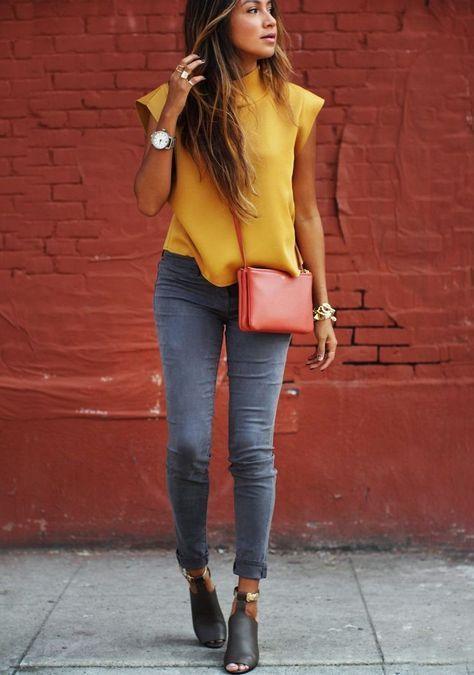 schicke kleidung mit gelber bluse gelb kombinieren pinterest mode outfit und outfit ideen. Black Bedroom Furniture Sets. Home Design Ideas