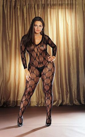 bb04a5b50fb Dreamgirl Women s Plus Size Lace Long Sleeve Open Crotch Bodystocking -  Velvet Angel UK