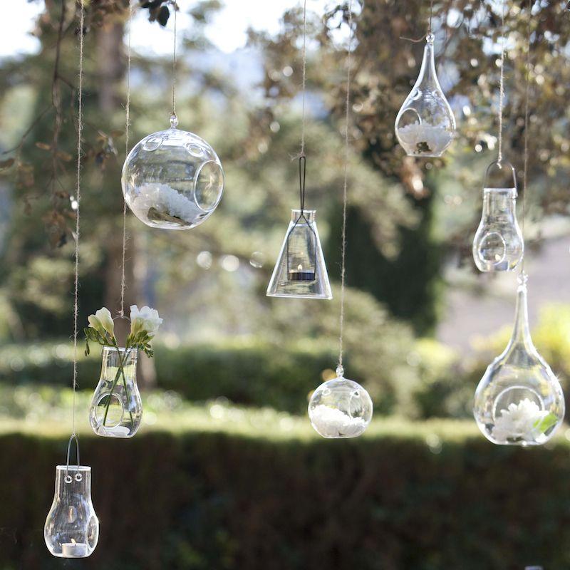 porta velas de cristal colgante para eventos y decoracin