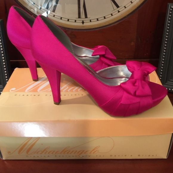 Hot Pink Heals - David's Bridal Hot pink heals! Was maid of honor in wedding! Worn for about 8 hours! Like new . Original box included. Look for dress in my closet! Davids Bridal  Shoes Heels