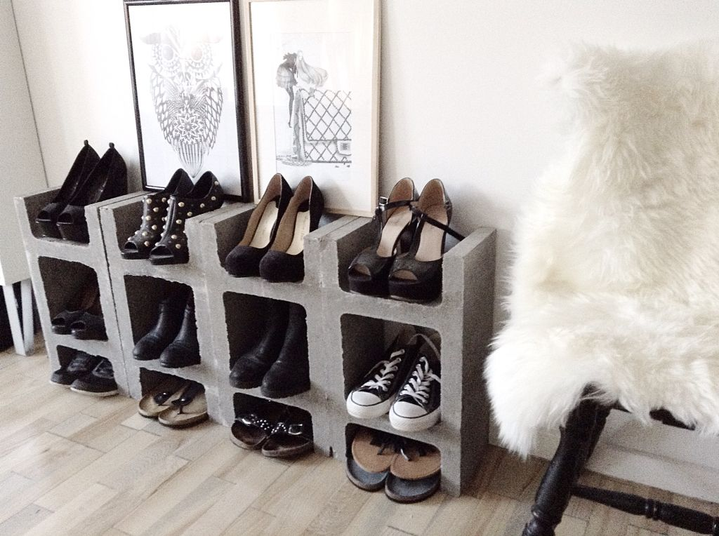 diy concrete shoe rack svona kubbar f st bauhaus undir 1000 kr diy pinterest. Black Bedroom Furniture Sets. Home Design Ideas