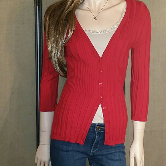 """JOSEPH A. Ribbed Knit 3/4 Cardigan Size Small JOSEPH A. Ribbed Knit 3/4 Sleeve Cardigan with a deep V-neck in Red. Eight (8) Button front closure. Form fitted.  Top of Shoulder to Hem End: Approx 25"""" Armpit to Hem End: Approx 16.5"""" Armpit to Sleeve End: 12"""" JOSEPH A. Sweaters Cardigans"""