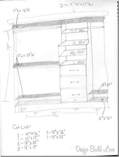 Hand Drawn Custom Closet Kit With Partial Cut List Adjustable