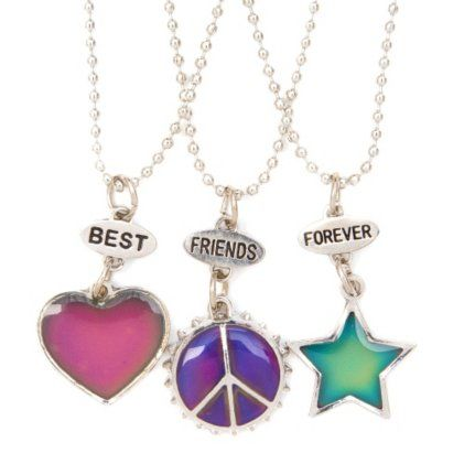 Best Friends Mood Heart, Star and Peace Sign Pendant Necklaces Set of 3. Another idea for friendship necklaces!