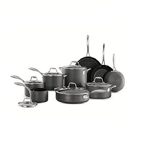 Cookware Set 15piece Members Mark Features Hardanodized Aluminum Vessels And Comfortable Grip With No Hard Anodized Cookware Cookware Set Nonstick Cookware Set