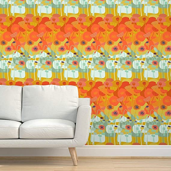 Spoonflower Peel And Stick Removable Wallpaper Orange Coral Rust Poppy Layers Bold Summer Mint Sag In 2021 Removable Wallpaper Poppy Wallpaper Self Adhesive Wallpaper