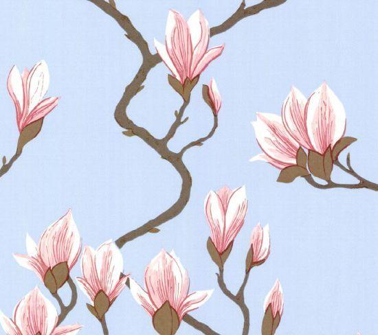 Behang magnolia is een zacht en organisch behang uit de for Wat kost een rol behang