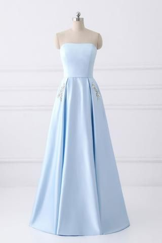 Simple A-line Strapless Long Crystal Light Blue Cheap Prom Dresses ...