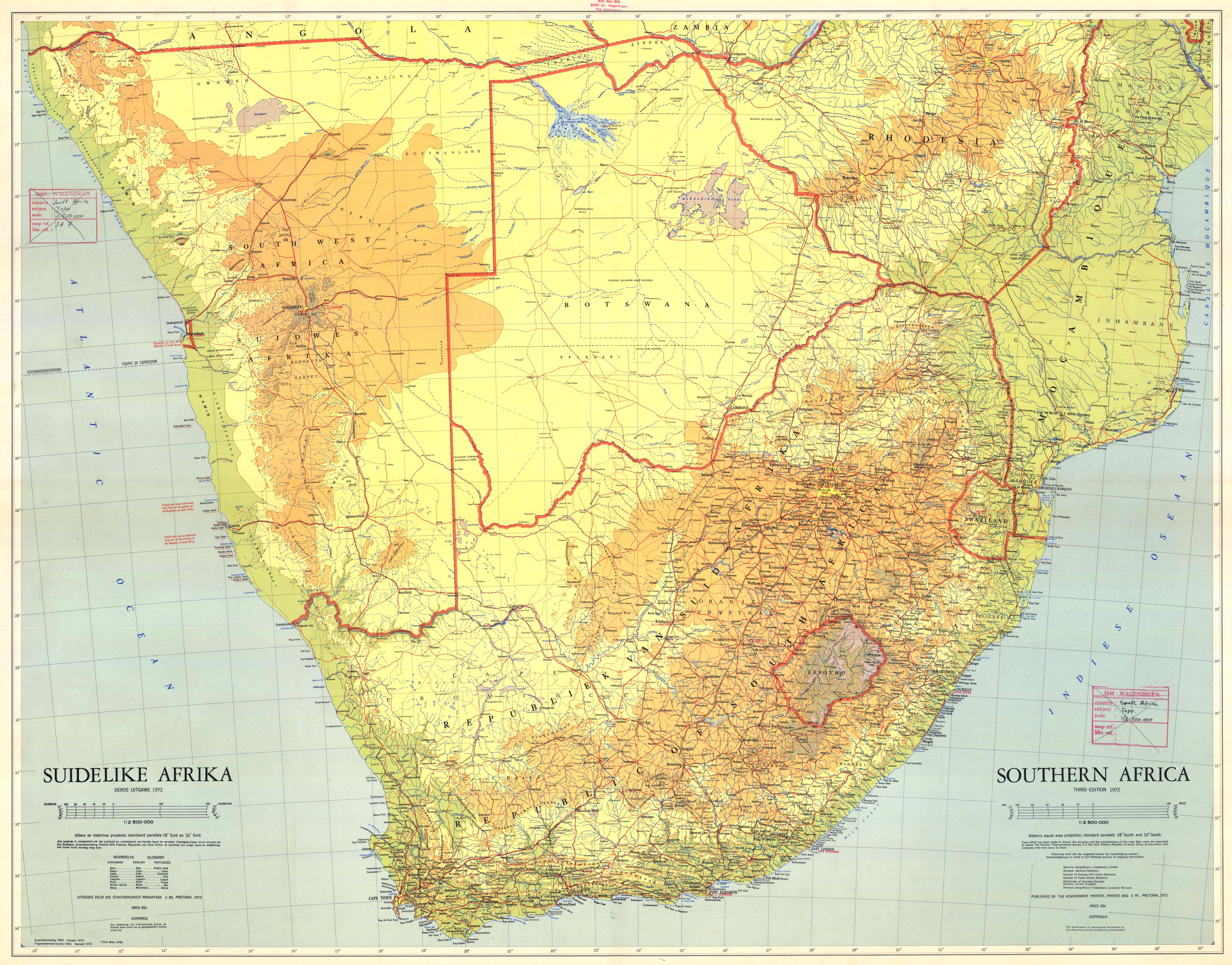 Map Of South Africa Large Detailed Topographical Illustration