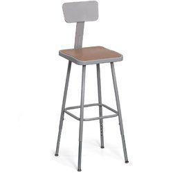 "Shop Stools with Square Masonite Seats and Steel Backrest - Gray by C&H. $80.00. Shop Stools with Square Masonite Seats adjust for your comfort and convenience. Form-fitting steel back adjusts 2"" vertically and horizontally for proper support. Welded steel telescoping legs adjust in 1"" increments. Steel seat has 11/8"" recessed masonite board insert that will not chip or crack. Legs are cross-braced with tubular ring footrest that has four spot-welds at each connection for increa..."