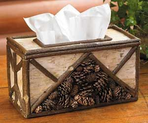 Birch Twig And Pinecone Tissue Box Cover For Rustic Cabin