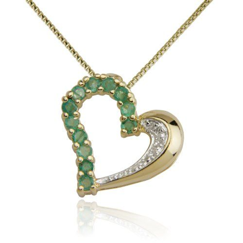 18k yellow gold plated emerald and diamond half and half heart 18k yellow gold plated emerald and diamond half and half heart pendant necklace aloadofball Choice Image