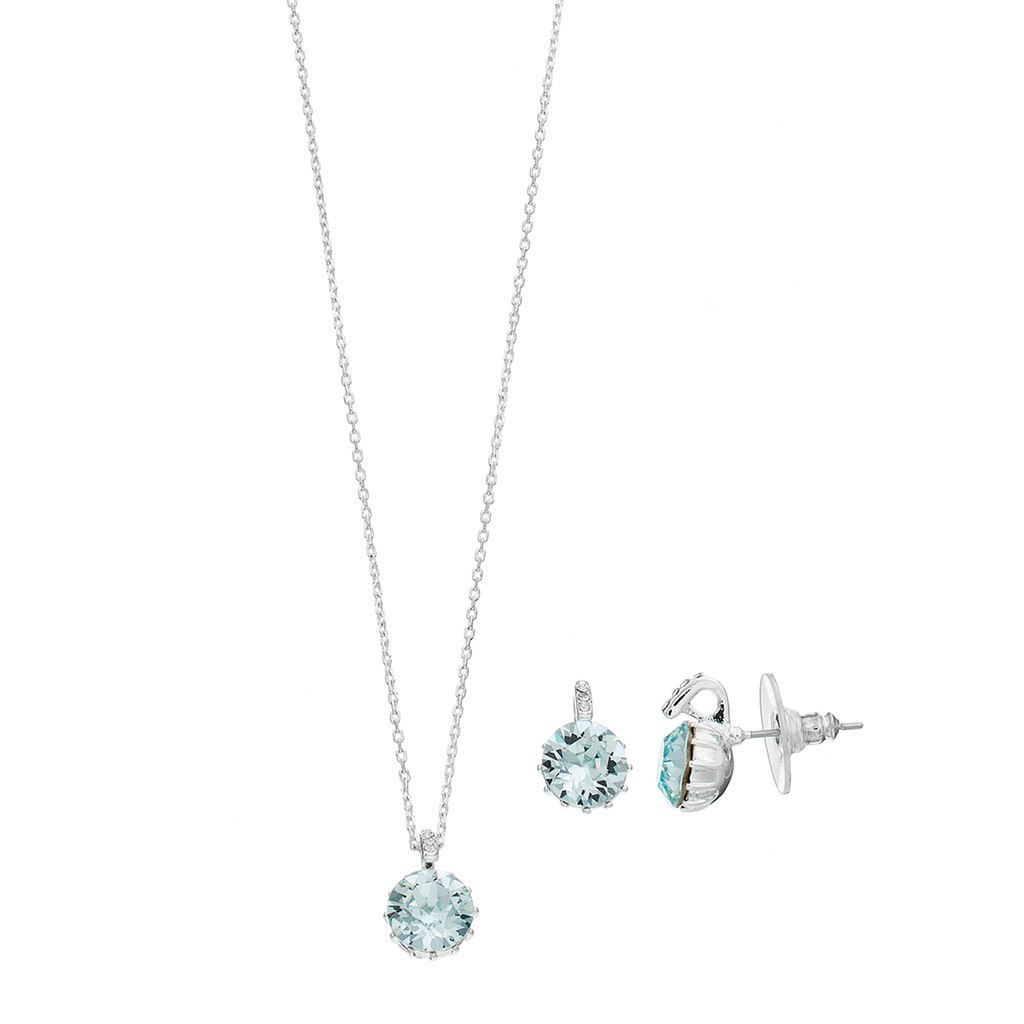 Brilliance silver plated pendant u stud earring set with swarovski